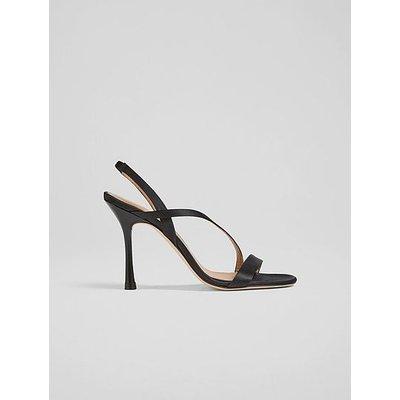 November Black Satin Strappy Sandals, Black