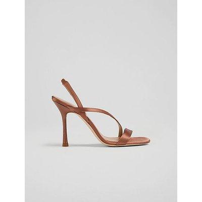 November Brown Satin Strappy Sandals, Mocha