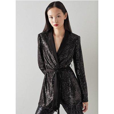 Shimmer Black Sequin Jacket, Black