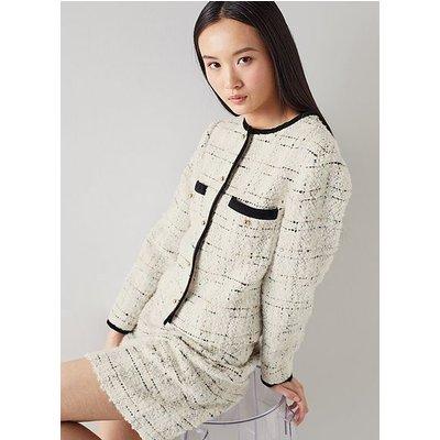 Silvia Cream Lurex Boucle Tweed Jacket, Cream