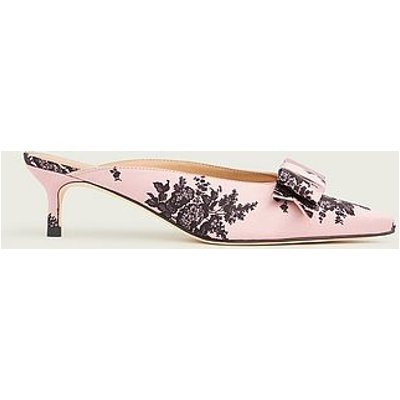 Melissa Pink and Black Satin Kitten Heel Mules, Pink