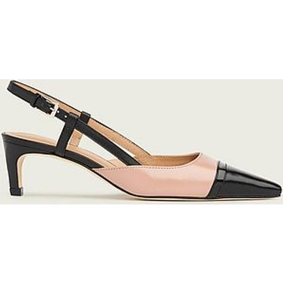 Veronica Pink and Black Leather Slingbacks, Candy