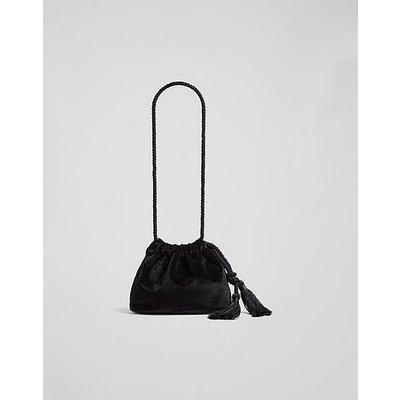 Dolly Black Velvet Drawstring Bag, Black