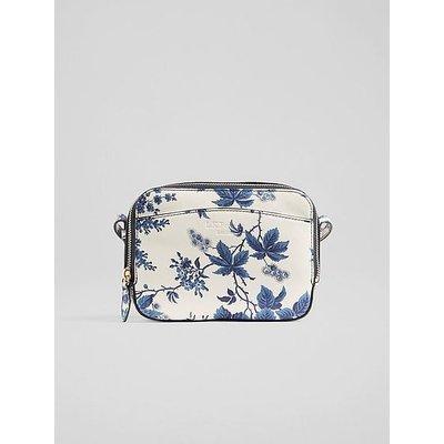 Mariel China Blue Print Leather Crossbody Bag, China Blue