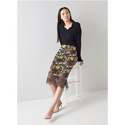 Agnes Floral Print Black Silk Pencil Skirt, Multi