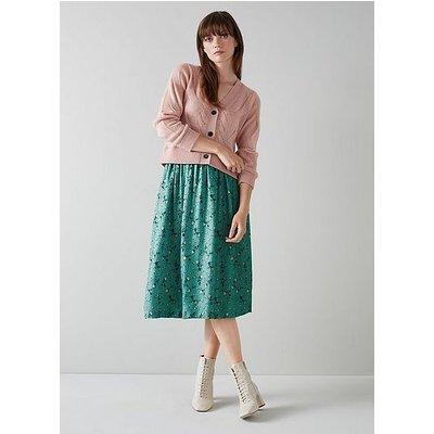 Boyd Teal Silk Jacquard Scattered Rose Print Skirt, Teal