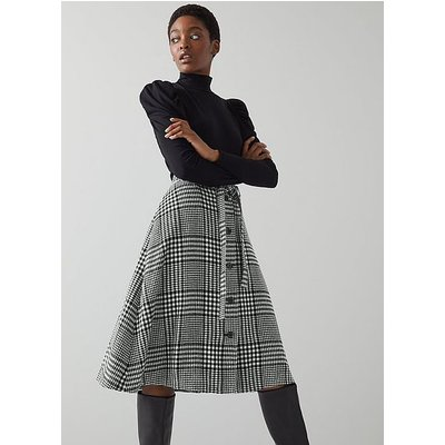 Katie Black and White Check Wool-Blend Skirt, Black White