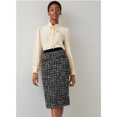 Leena Black Lurex Tweed Skirt, Black