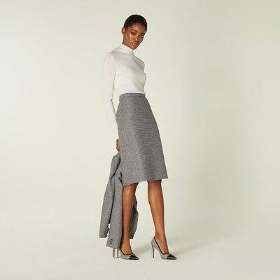 Nina Black & White Dogtooth Pencil Skirt, Black Cream
