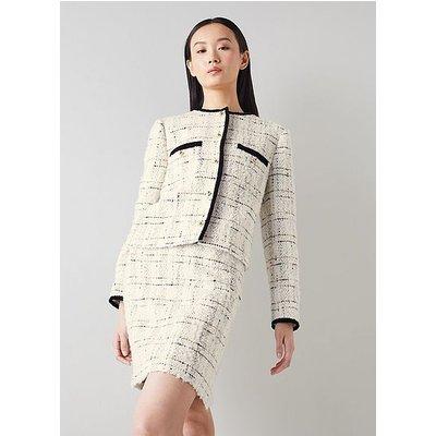 Silvia Cream Lurex Boucle Tweed Skirt, Cream