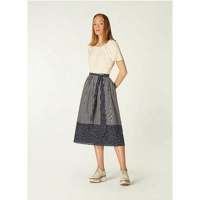 Smith Navy and Cream Stripe Print Cotton-Silk Skirt, Cream