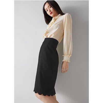 Venice Black Tweed Scallop Edge Pencil Skirt, Black