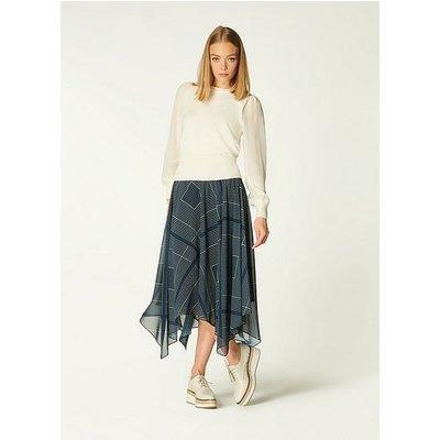 Wait Navy Handkerchief Print Abstract Hem Skirt, Navy Cream