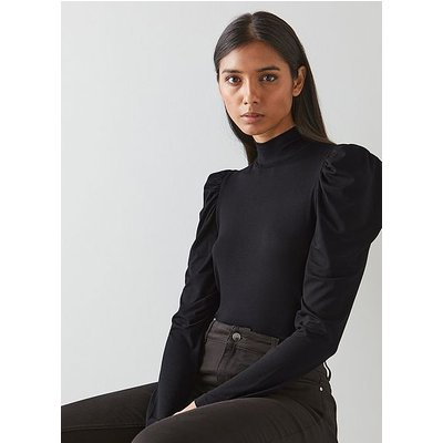 Cora Black Jersey Puff Sleeve Turtle Neck Top, Black