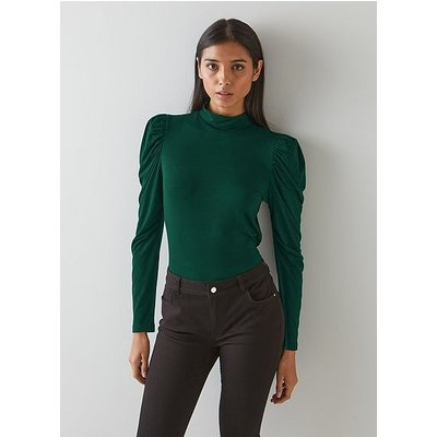 Cora Green Jersey Puff Sleeve Turtle Neck Top, Forest