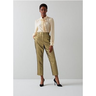 Issy Gold Sparkly Tailored Trousers, Gold