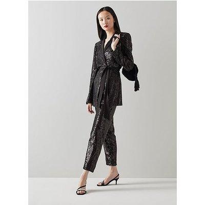 Shimmer Black Sequin Trousers, Black