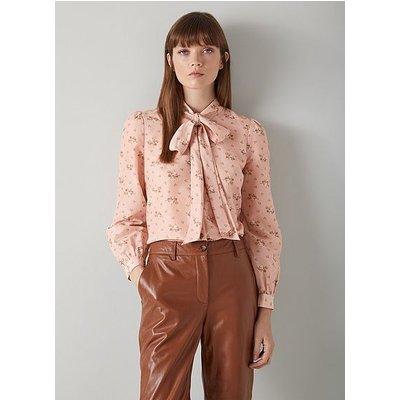 Fleur Pink Tea Rose Print Silk-Cotton Blouse, Pink Multi