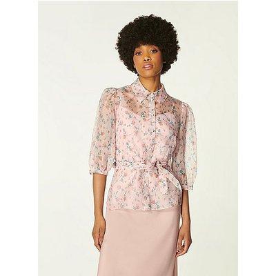 Luella Pink Scattered Rose Print Silk Organza Blouse, Pink