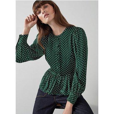Sigrid Green and Cream Polka Dot Peplum Blouse, Green