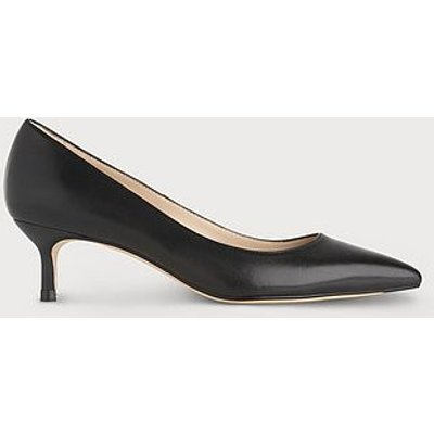 Audrey Black Leather Kitten Heel Courts