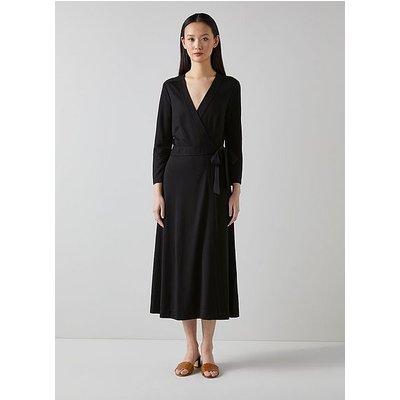 Juno Black Wrap Dress, Black