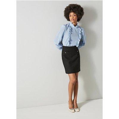 Charlee Black Tweed Skirt, Black