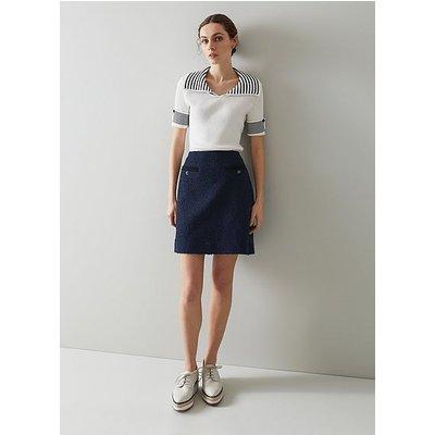 Charlee Navy Tweed Skirt, Navy