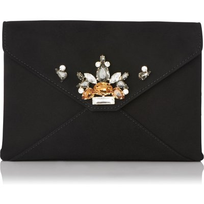 Alena Black Suede Clutch