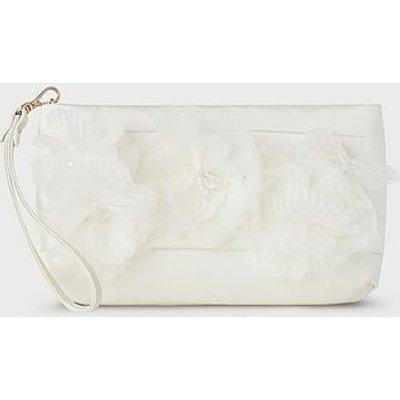 Beatrice Ivory Satin Clutch Bag, Ivory