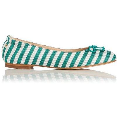 Thea Green White Striped Flats, Green White