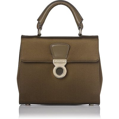 Amelia Khaki Satin Shoulder Bag, Khaki