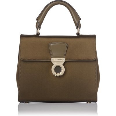 Amelia Khaki Satin Shoulder Bag