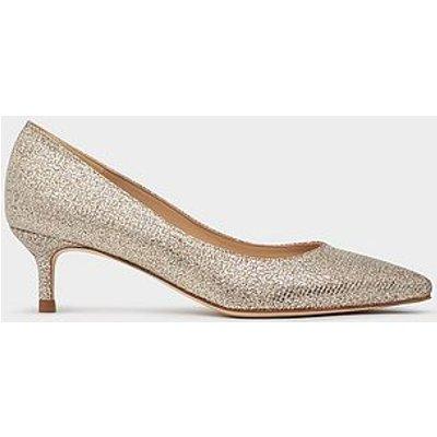 Audrey Champagne Lurex Kitten Heel Courts, Gold