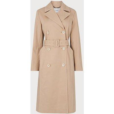 Kaylee Beige Cotton Trench Coat, Beige