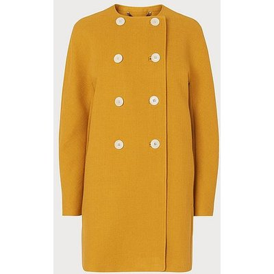 Tammie Yellow Wool-Cotton Coat, Golden Spice