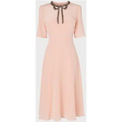Carey Pink Bow Beaded Silk Tea Dress, Pale Pink