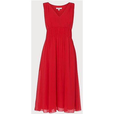 Greca Red Silk Midi Dress, Red
