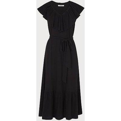 Margret Black Cotton Linen Dress, Black