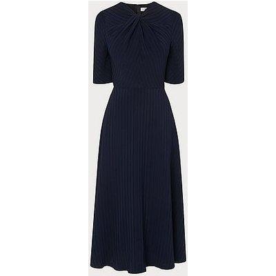 Mariann Navy Twist Neck Midi Dress, Navy