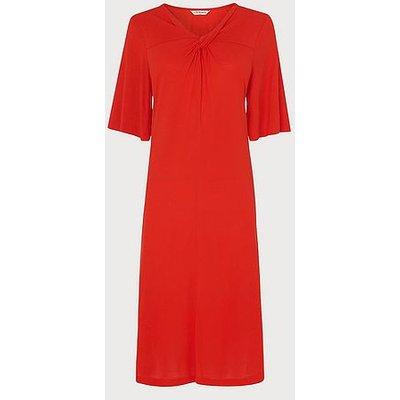 Twist Red Twist Neck Jersey Dress, Red