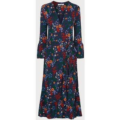 Vika Floral Print Wrap Dress, Navy