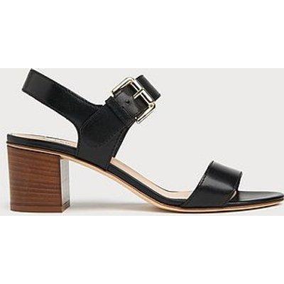 Pelham Black Leather Stacked Heel Sandals, Black