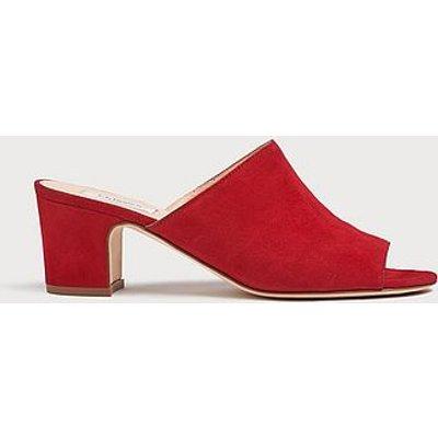 Carter Red Suede Block Heel Mules, Roca Red
