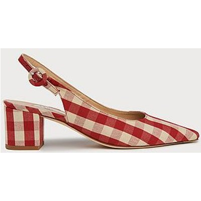 Ada Red Ivory Block Heel Slingbacks