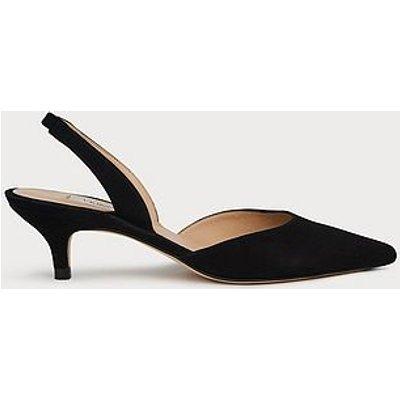 Larissa Black Suede Kitten Heel Slingbacks, Black