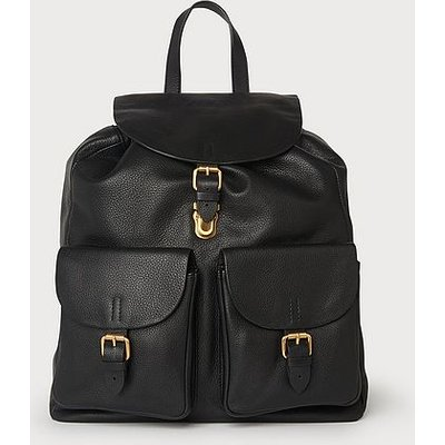 James Black Leather Backpack