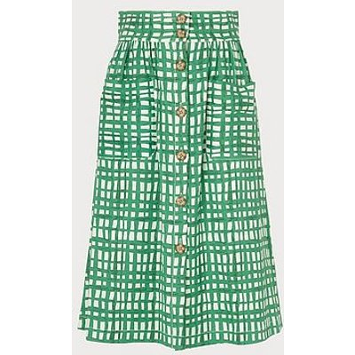 Annelin Painterly Check Green Midi Skirt, Green White