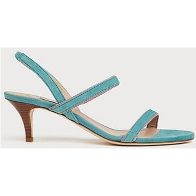 Nala Blue Suede Picot Trim Sandals, Light Blue