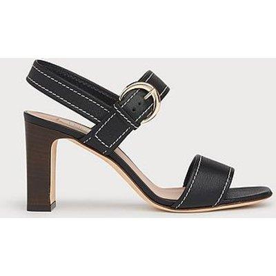 Natalie Black Leather Buckle Sandals, Black